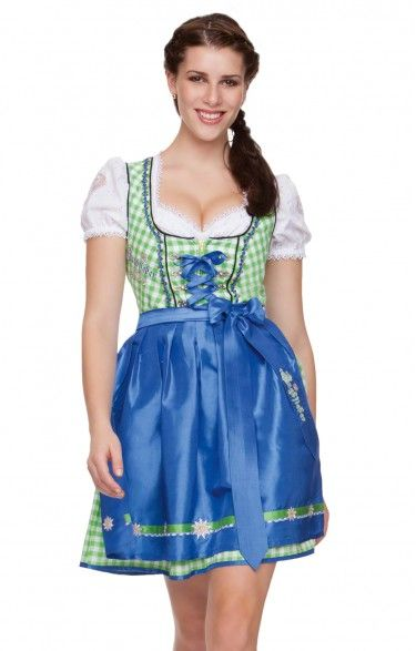 German mini dirndl 2pcs. - Uma - apple green 50cm