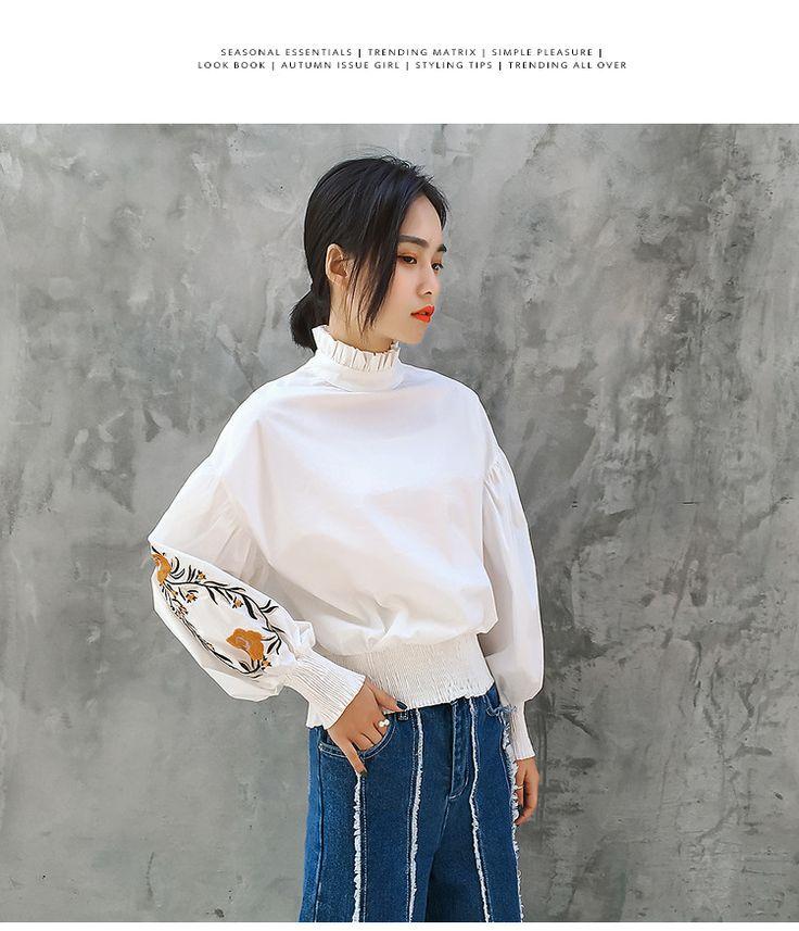 [XITAO] Весна 2017 новое прибытие женские белый цвет длинные фонарь Вышитые рукава пуловер водолазка пуловер блузки EC001 купить на AliExpress