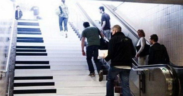 Un grupo de personas se reunieron para pensar en una estrategia para que las personas comensaran a usar las escalera, ya que se detectó un problema en el que las escaleras eléctricas se encontraban constantemente saturadas y el espacio de las escaleras comunes estaba siendo desperdiciado.