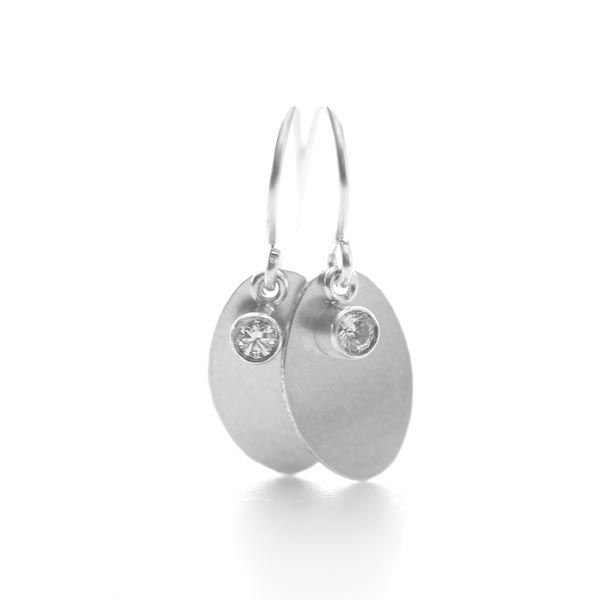 Sterling Silver Oval Earring with Cubic Zirconia