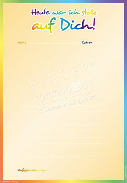 """Kindergarten Portfolio Vorlage """"Heute war ich stolz auf Dich"""""""
