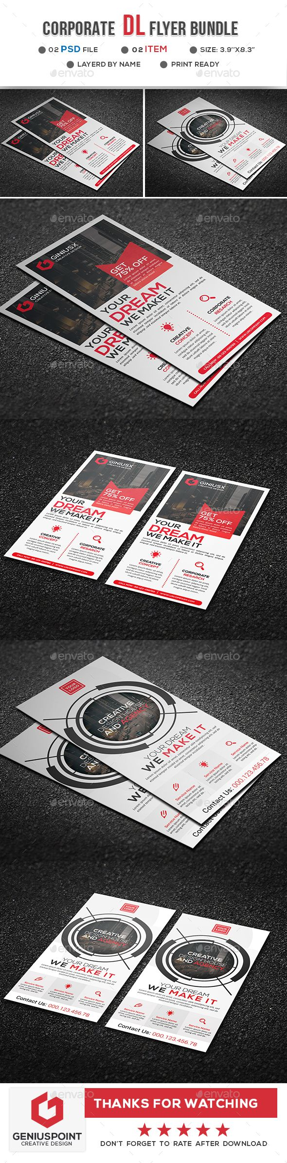 Corporate DL Flyer Template PSD Bundle