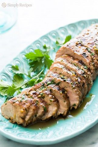 Grilled Ginger Sesame Pork Tenderloin ~ Easy grilled pork tenderloin, marinated in soy sauce, ginger, sesame oil marinade, and grilled to perfection! ~ SimplyRecipes.com