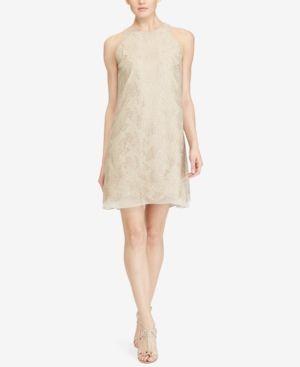Lauren Ralph Lauren Petite Metallic Shift Dress - Sandstone Metallic 16P