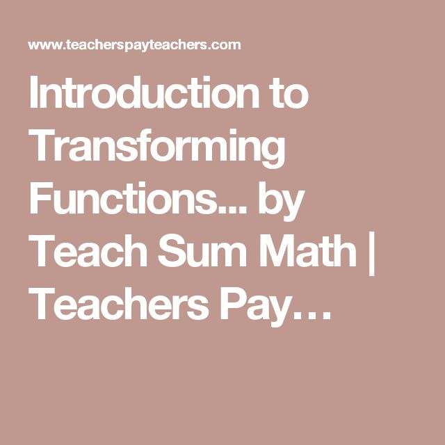 Introduction to Transforming Functions... by Teach Sum Math | Teachers Pay…