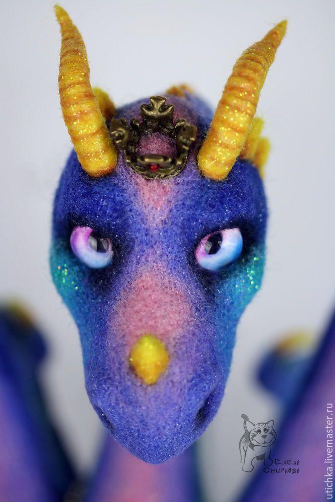 Купить Фалькорр - дракон Удачи! - разноцветный, синий, синий дракон, шерсть, Валяние, валяная игрушка