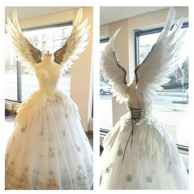 Angels basking in sunlight.... Email me on fairytas.info@gmail.com to order this dress #angel #feather #dress #wedding #white #wingstop #gold #marriage #embroidery #feathers #wings