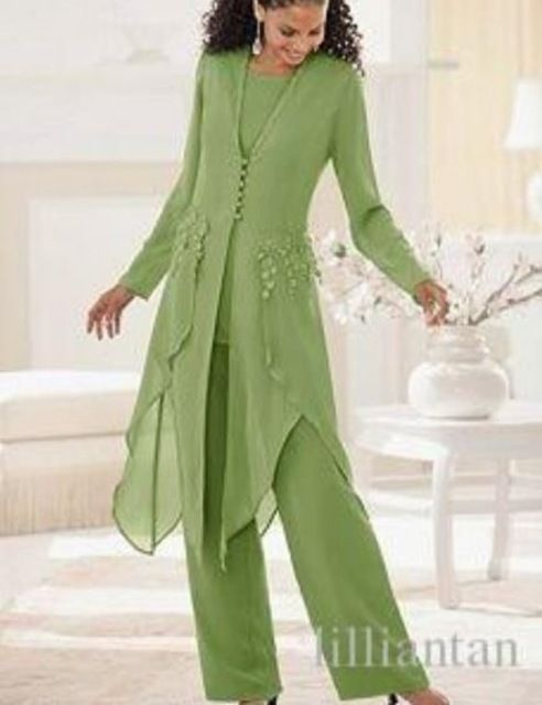 Hot Mother Of the Bride Pant Suit For Weddings Long Sleeve Evening Pant Suits For Women Dresses And Jacket Set Cheap China