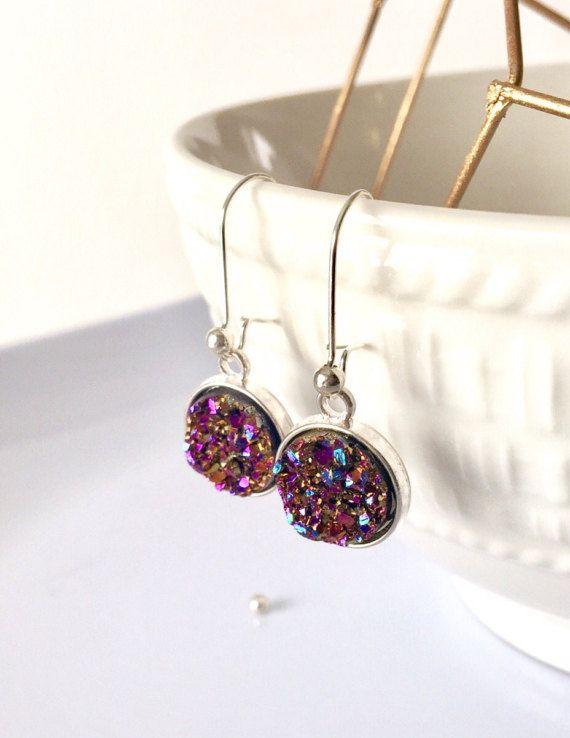 Purple Plum Druzy Earrings Purple Druzy by AprilHyltonDesigns