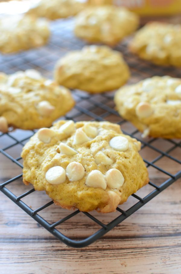 Pumpkin White Chocolate Cookies - the most delicious pumpkin cookies recipe! A must make! #intheraw #ad