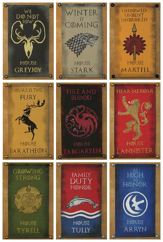 House Name AND Motto Game of Thrones Nine Banner by Lorinas