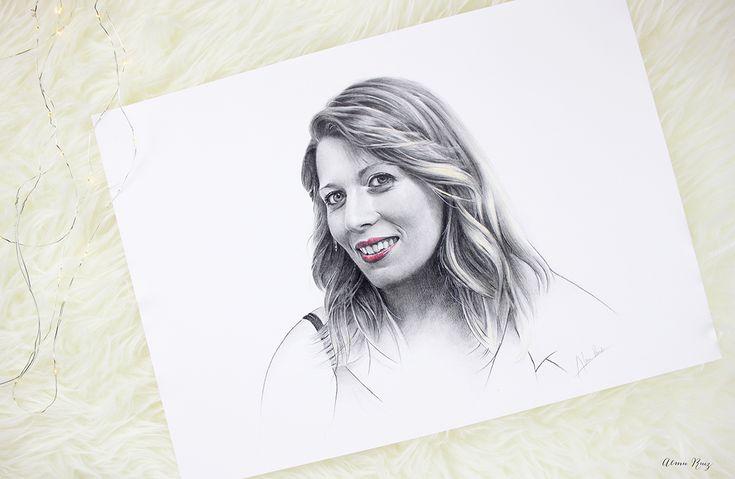 Retrato femenino a lápiz y acuarela. Almu Ruiz. Pencil drawing and watercolor portrait