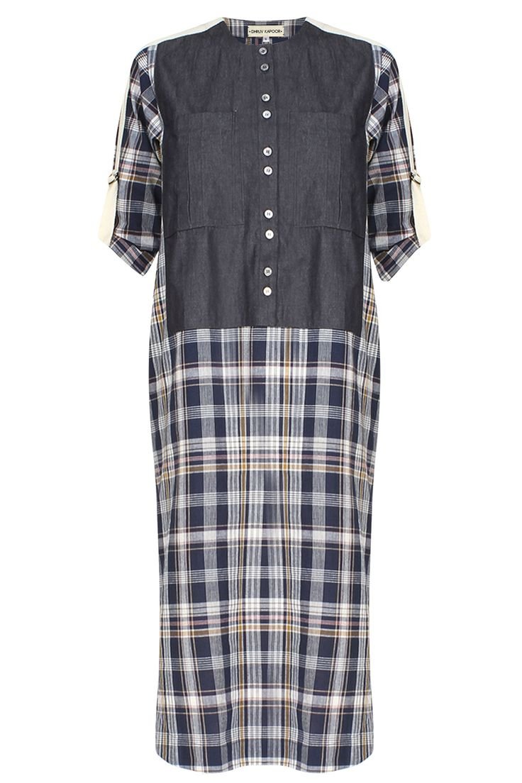 Dhruv Kapoor presents Navy blue checkered shift dress available only at Pernia's Pop Up Shop.