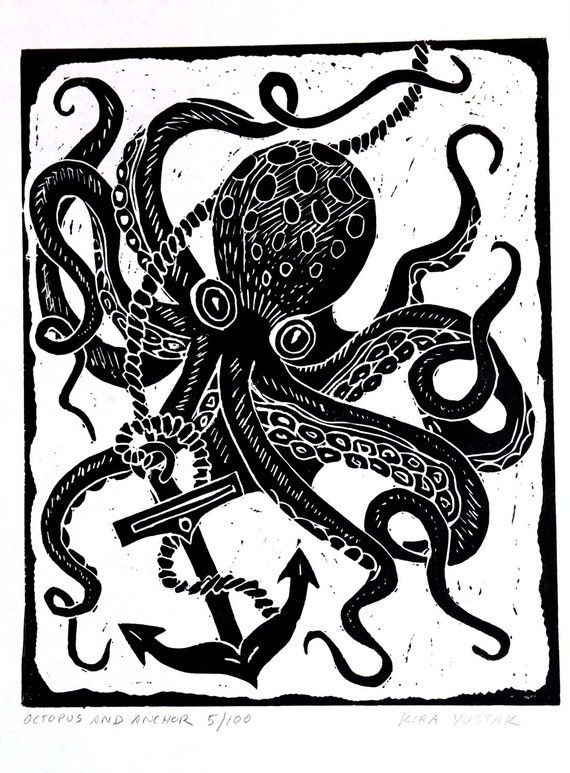 Octopus and Anchor - Block Print