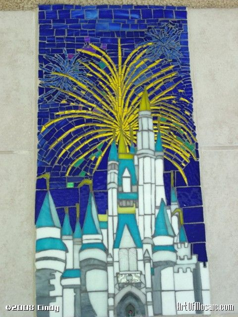Cinderella Castle Residential Commission~Stained Glass Mosaic Floor Inlay. Clients work for WDW their home is a cozy reminder of the place they work love; this piece is in the foyer of their home was inspired by their love of the centerpiece of WDW.