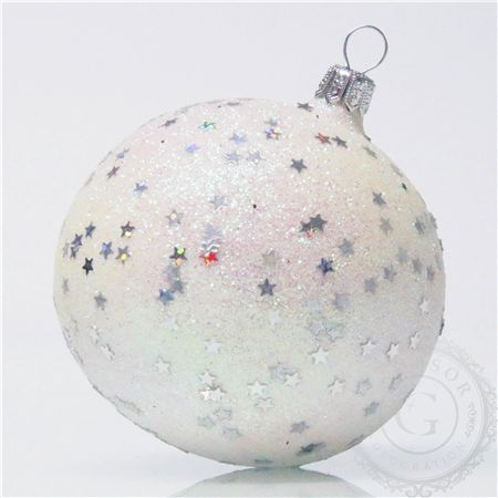 Boule de Noël en verre, colorée, paillettes en forme des petites étoiles; fait main, produit en République Tchèque
