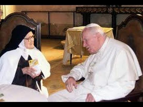 The last conversation about the Fatima message from sister Lucia (the visionary) before she was silenced to secrecy by the church.  Imagine what peace we could accomplish if we took her advice!