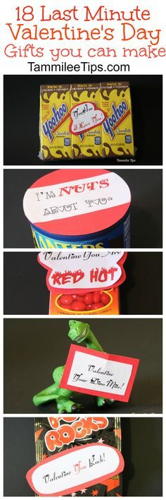 18 last minute DIY Cheap Valentines Day gifts you can make! For him, For Her, For kids there is something for everyone! via @tammileetips