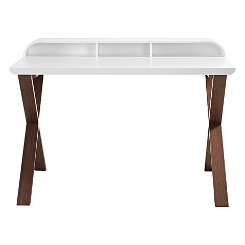 Complement your bedroom with a study space comprised of the Felipe Desk, Walnut/White from Vida & Co.
