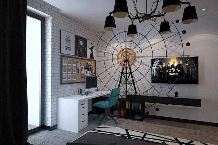 Als Deko im Jugendzimmer dient ein Wandbild in Form eines Riesenrads mit Uhr