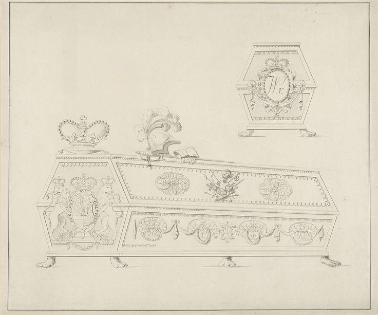 Anonymous | Grafkist van Willem V, prins van Oranje-Nassau, Anonymous, 1806 - 1899 | Grafkist van Willem V met daarop een kussen met een kroon, een helm, zwaard en handschooenen. Aan het hoofdeind zijn wapen met een kroon en twee leeuwen, gedecoreerd met de Kousenband en het devies van de Orde van de Kousenband. Aan het voeteneind zijn initialen in een ovaal van lauwerbladen.