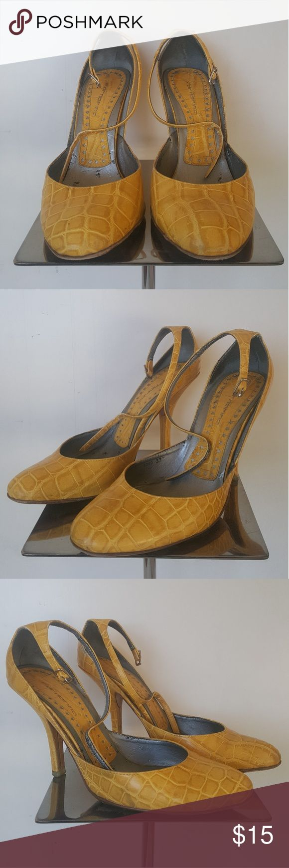 Fornarina Yellow Mary Jane Croc Leather Heels Yellow croc print Mary Jane heels with buckle strap. Pre-loved! Priced to sell or make an offer! Easy to fix missing color spots at a leather shoe repair shop. Fornarina Shoes Heels