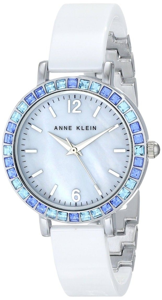 Women watches Best white watches store Anne Klein Women's AK/1443BLWT Blue Swarovski Crystal Accented White Ceramic Bangle Watch