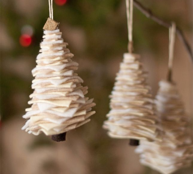 Use felt to make these festive Christmas tree ornaments.