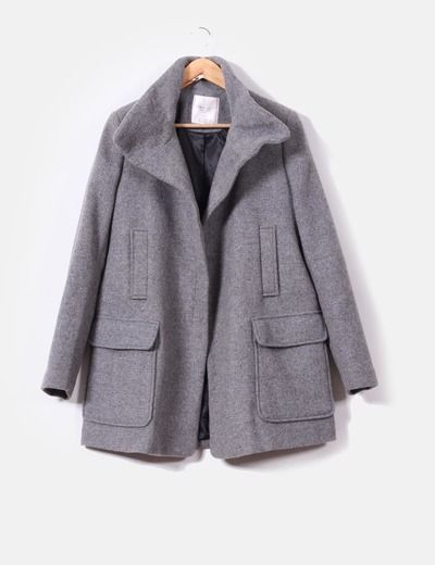 Chaquetón gris tres cuartos  Zara