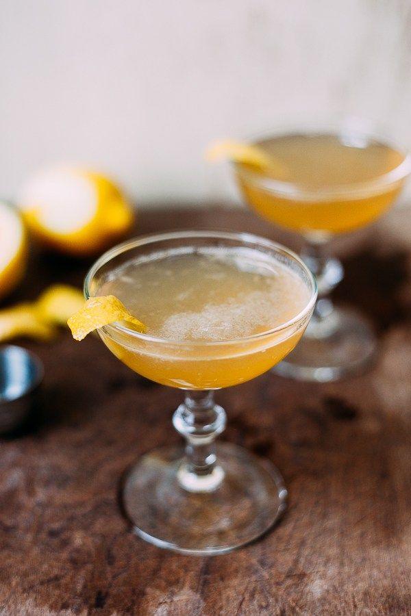 "BOURBON SIDECAR ~2 oz Bourbon ~1 oz Cointreau ~1 oz fresh Lemon Juice >Garnish: 3"" strip Lemon Peel"