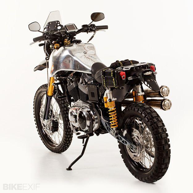 Custom Harley dual-sport sportster with handmade aluminum tank ... rad