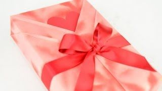 japanese gift wraping kimono style with a heart shaped message card - YouTube