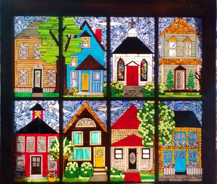 Stained Glass Glass Art - Small Town by Liz Shepard