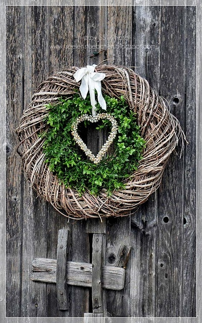 winter February valentines double wreath & heart