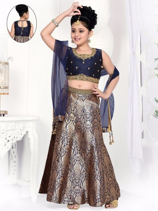 Shop Designer navy lehnega choli online from G3fashion India. Brand - G3, Product code - G3-GCS0423, Price - 3795, Color - Navy, Fabric - Silk,
