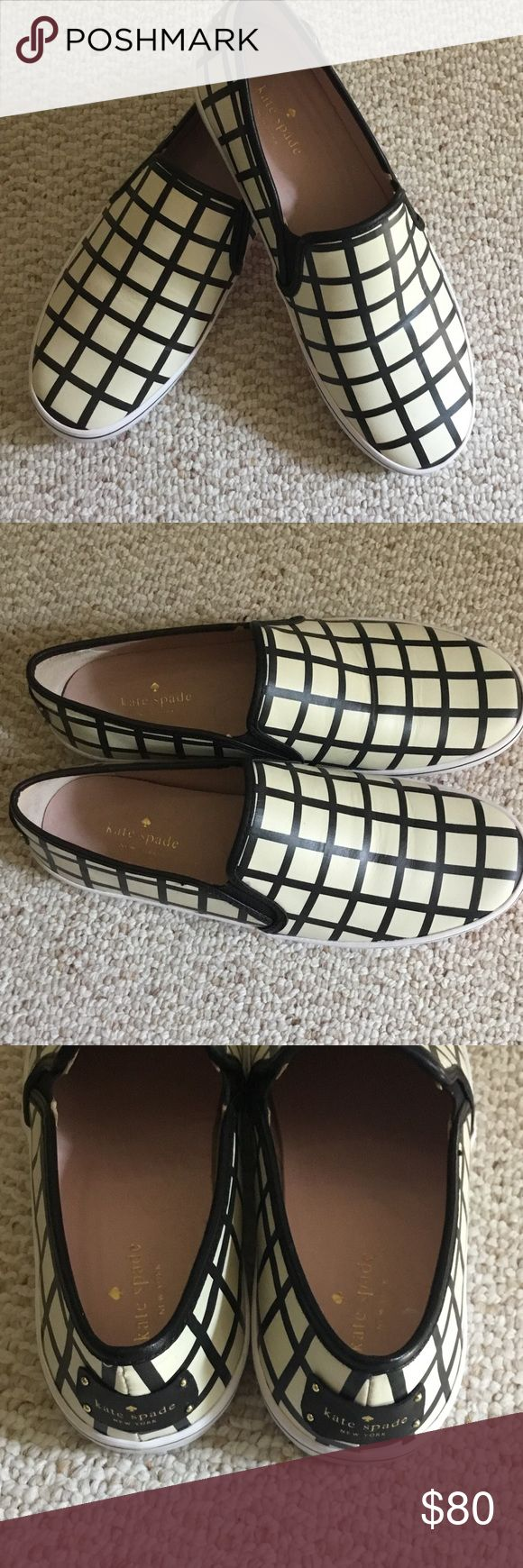 Kate Spade NWOT checkered Slip On Sneakers...10/M Kate Spade NWOT.... Only put them on to try on... Checkered leather upper Slip On sneakers Size 10/M kate spade Shoes Sneakers