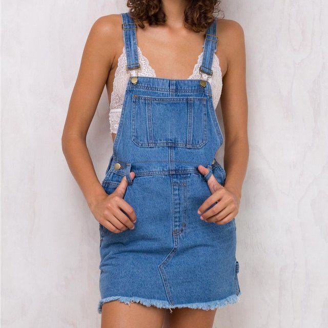d04fdcdc9c2f PRICE DROP!!!! Princess Polly Denim Pinafore Dress Perfect L - Depop ...