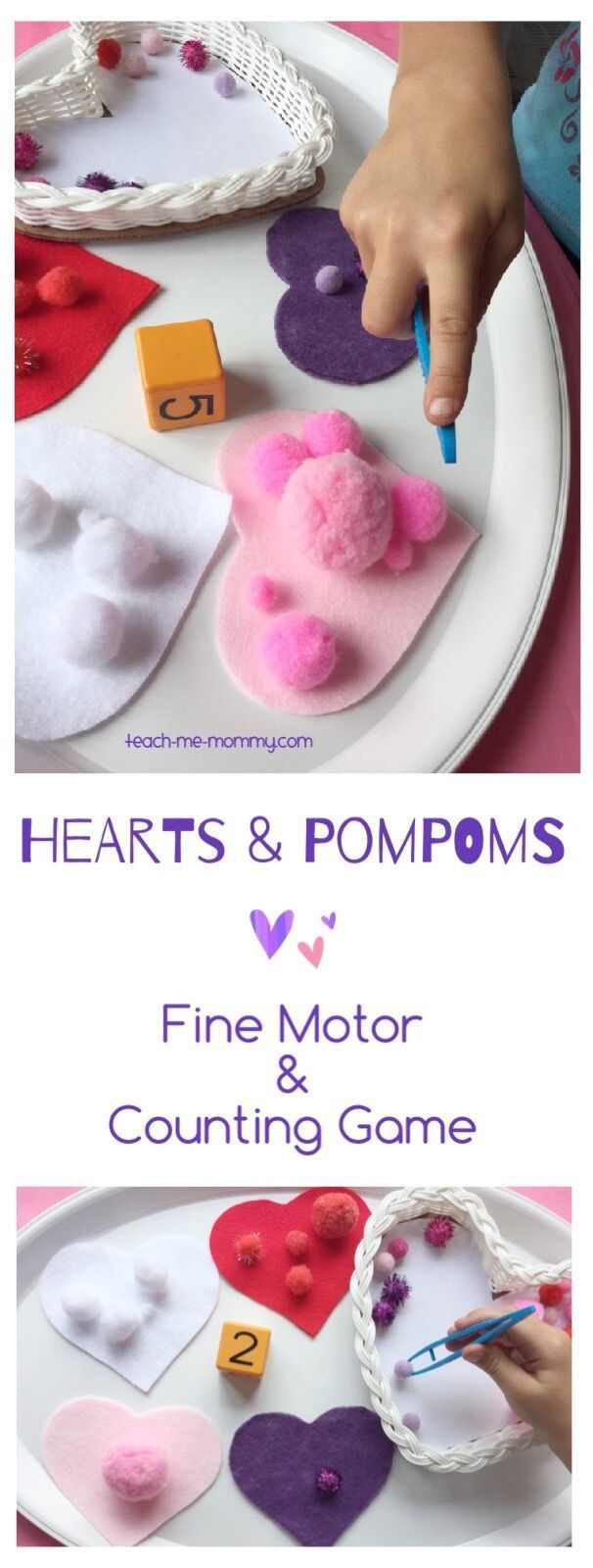 Hearts & Pompoms Counting Game Make a fun heart & pompoms fine motor and counting game that kids of all ages can enjoy!