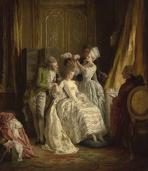 Every morning before she got out of bed, Marie Antoinette would be presented with the gazette des atours, a huge book full of fabric swatches from each of her gowns and she would place a pin in the dresses that she wanted to wear that day, which would then be brought down from the wardrobe in vast green taffeta covered baskets.
