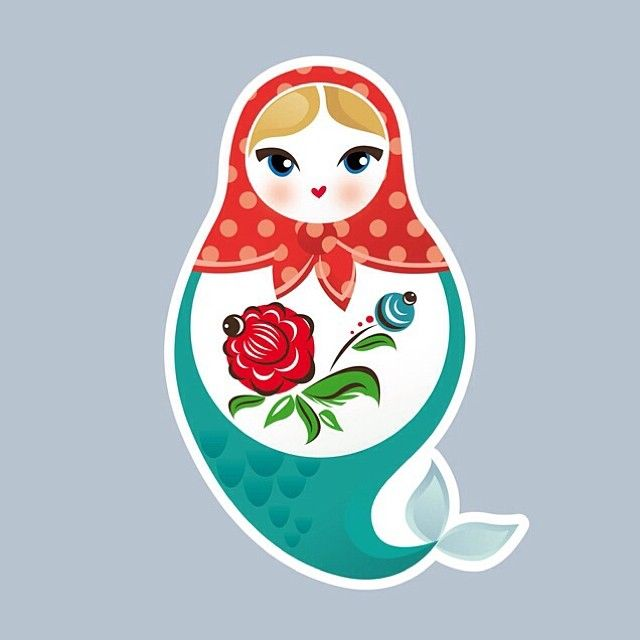Far Eastern hybrid mermaid / matrioshka Elena sticker