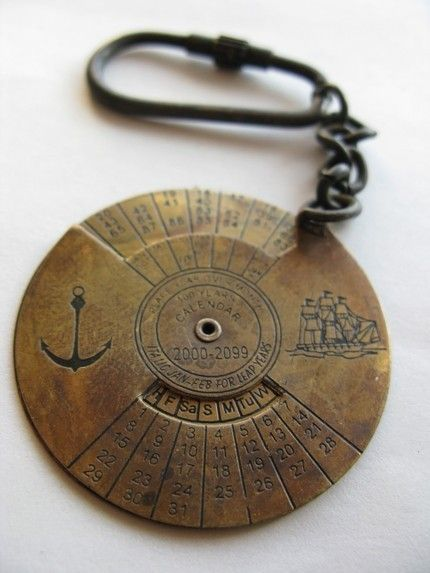sea calendar: Calendar Keychain, Gift, Idea, Years Calendar, Nautical Calendar, 100 Years, Anchor