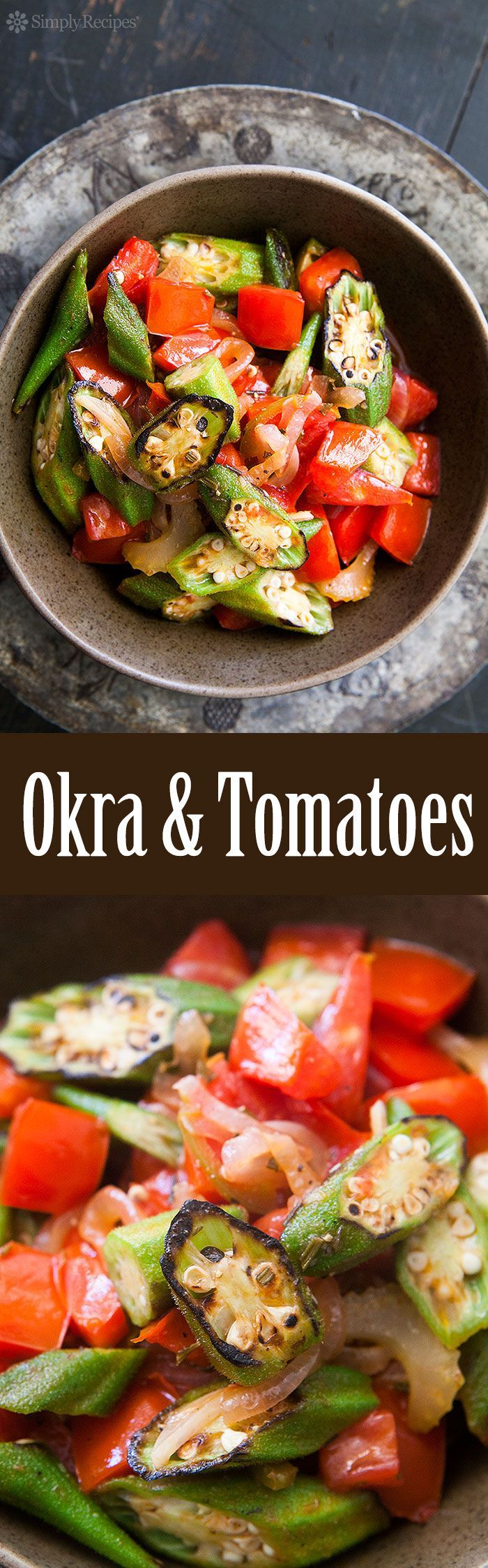 The best way to eat okra! Sliced and quickly seared on high heat, then cooked with fresh tomatoes, onions, and jalapenos. On http://SimplyRecipes.com