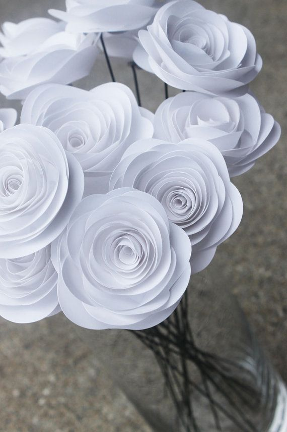 White Paper Flower Bouquet 12 Spiral Wedding By