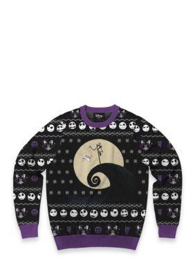 Mad Engine Men's Classic Nightmare Before Christmas Sweater - Black/Purple - Xl