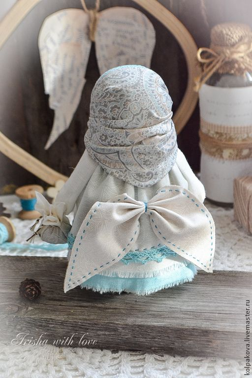 """Купить куколка """"Ангел добра и благополучия"""".Зима. - белый, бирюзовый, бежево-коричневый, народная кукла"""