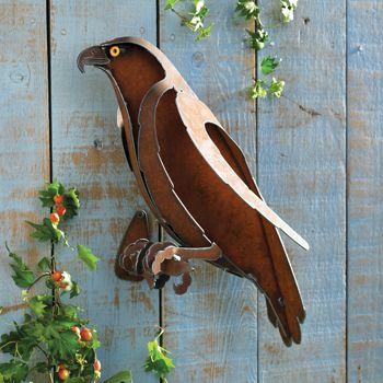 Rusty Raptor Wall Sculpture, garden art