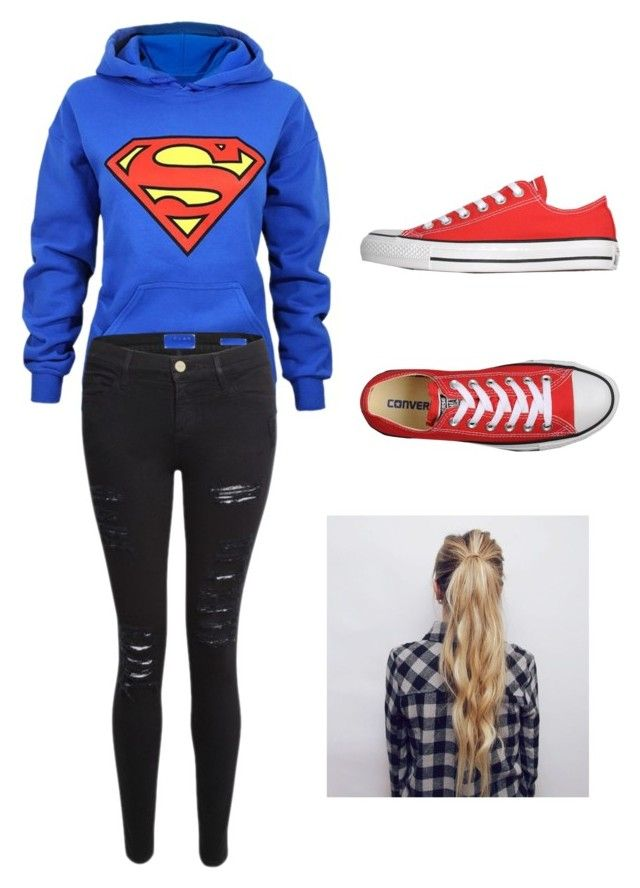 """Superman Outfit"" by spazzingxclayton ❤ liked on Polyvore featuring Frame Denim and Converse"