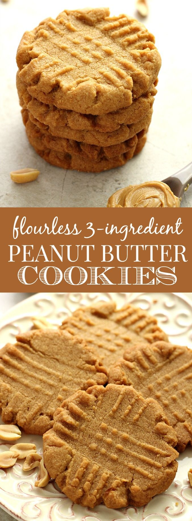 Flourless Peanut Butter Cookies – a classic cookie made from just 3 ingredients! Beloved by everyone!