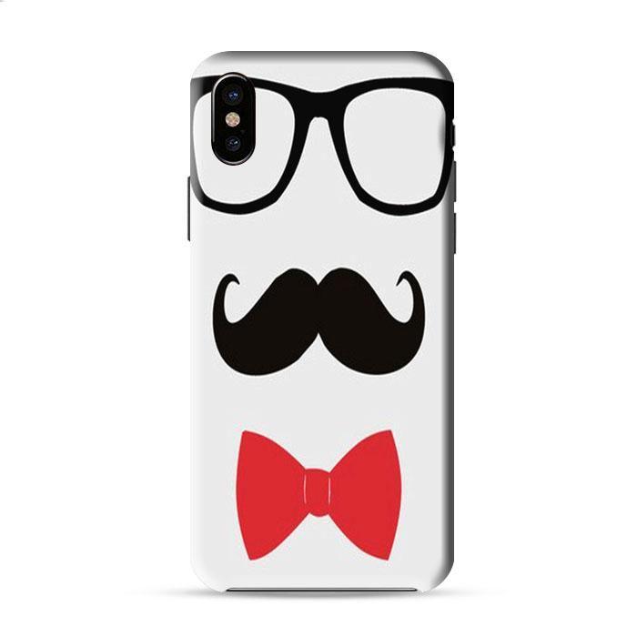 Black French Mustache Glasses Bowtie Iphone X 3D Case Caseperson