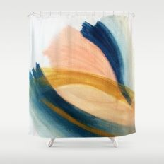 Slow as the Mississippi - Acrylic abstract with pink, blue, and brown Shower Curtain
